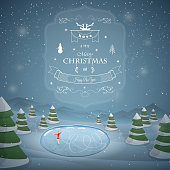 Winter Christmas landscape vector illustration. Merry Christmas greetings against the background of snowed up forest, frozen lake and skating girl.