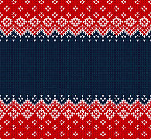Winter Christmas x-mas knitted seamless abstract background frame and border. Knitted pattern with nordic ornaments snowflakes. Winter knitting. Scandinavian flat style design for backgrounds, wallpap