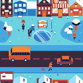 Winter city landscape seamless pattern with people in warm clothes walking on street with snowy houses and trees and cars on road - seasonal urban backdrop in vector illustration.
