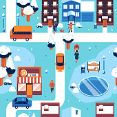 Winter cityscape seamless pattern vector illustration with people in warm clothes walking on street with houses and trees covered with snow - seasonal urban backdrop with snowy elements.