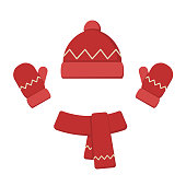 Winter clothes set. Red hat, scarf and mittens. Isolated vector illustration on white background.