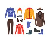 Winter Clothing Man Set Fashion Seasonal Shopping Flat Design Style. Vector illustration