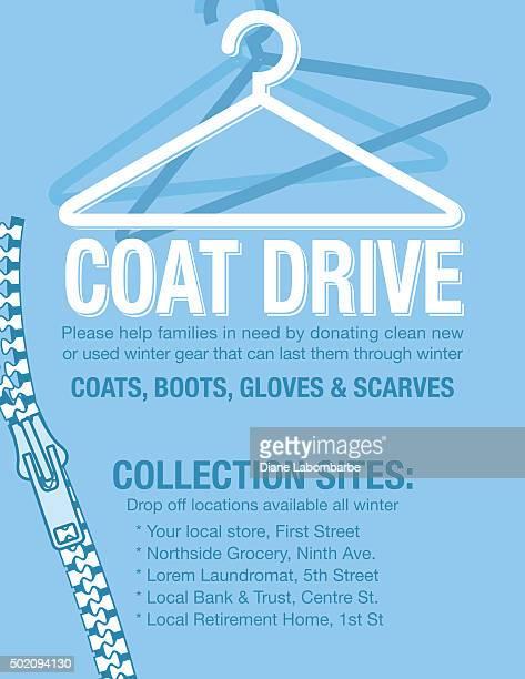 Abrigo de invierno en automóvil de caridad Poster template.
