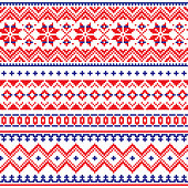 Retro patterns from Norway, Sweden, Finland, and the Murmansk Oblast of Russia in red and blue