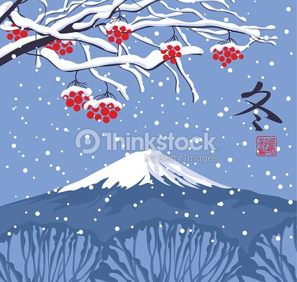 Winter east landscape with snow trees and mountain