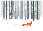 Vector illustration. Winter forest landscape with a Fox and birds on the branches of trees.
