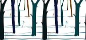 winter forest with beautiful shadows on snow, seamless vectorial horizontal pattern
