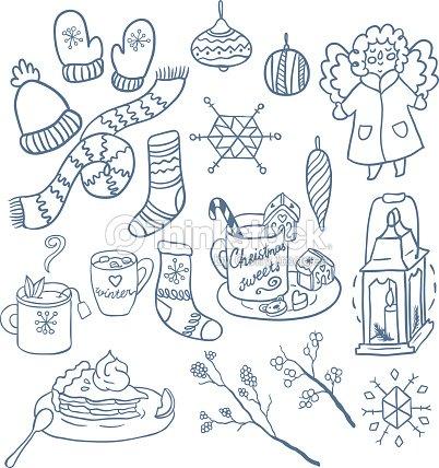 Winter Fun Hand Drawn Vector Set Symbols Of Christmas Vector Art