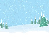 game landscape background with tree,snow on blue background