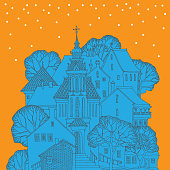 Winter greeting card, hand drawn illustration of the scene with cute houses in a snowy day, vector