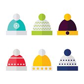 Winter hat isolated icons on white background. Winter hats collection. Flat vector illustration design.