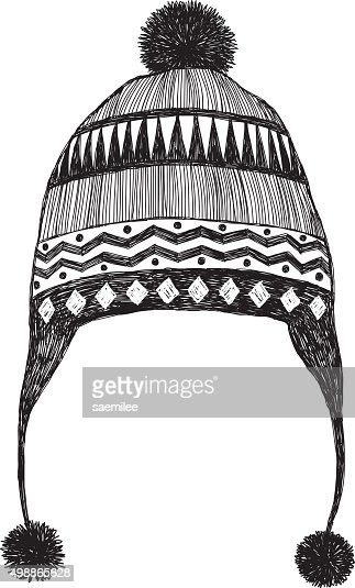 Black And White Hat Part : Winter hat sketch vector art getty images