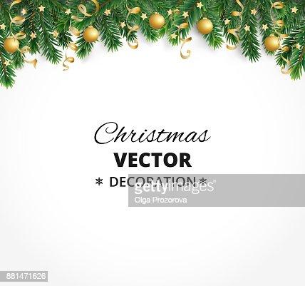Fondo de vacaciones de invierno. Frontera con ramas de árbol de Navidad. Garland, marco con adornos, banderolas que cuelgan : Arte vectorial