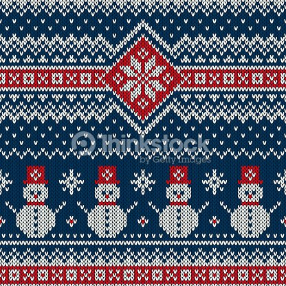 Winter Holiday Knitting Pattern With Snowman Christmas And New Year