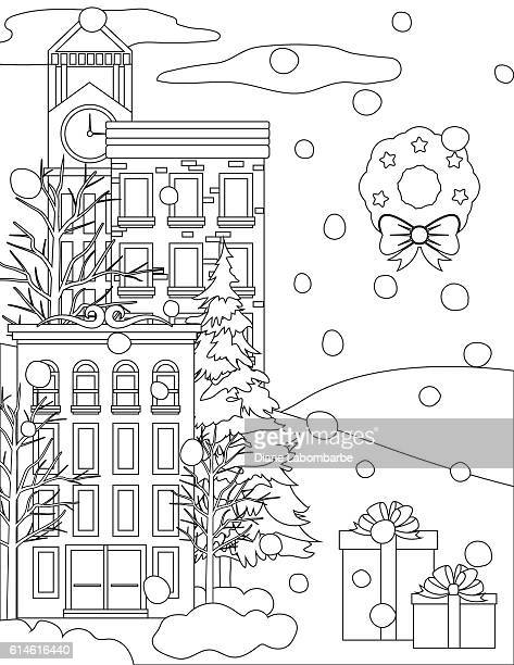 Winter Houses In The Snow Coloring Book Page