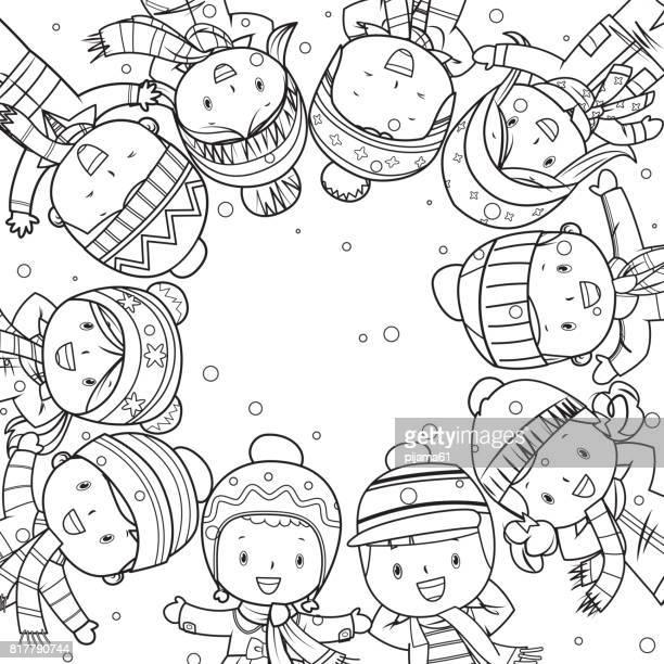 Winter Kinder Frame Strichzeichnungen