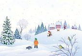 Vector illustration of a winter scene in a small snowy village with playing kids.