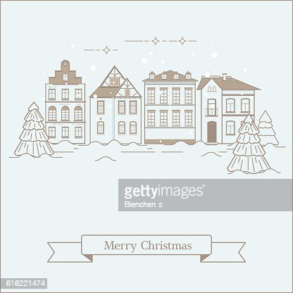 Winter landscape of the old town : Vector Art