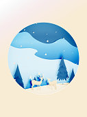 Winter landscape and deer with paper art style and pastel color scheme vector illustration
