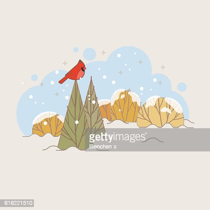 Winter landscape with trees and northern cardinal : Vector Art