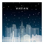 Winter night in Warsaw. Night city in flat style for banner, poster, illustration, game, background.