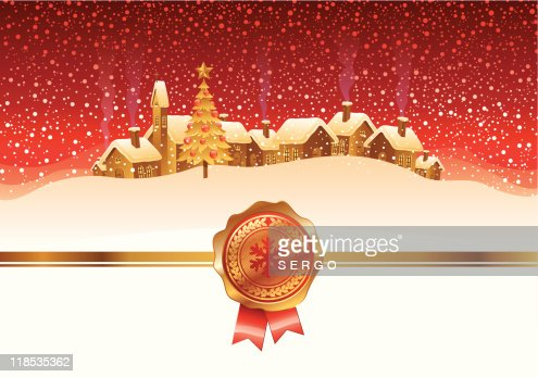 Winter night landscape and town : Vector Art