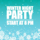 Winter Night Party 8PM Sky Background Vector Image