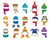 Winter or autumn headwear collection. Vector knitting hats, caps and scarfs for girls and boys for cold weather isolated on white background