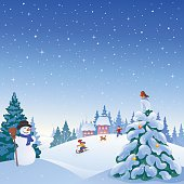 Vector illustration of a winter snowy village with a snowman, playing kids and snow covered Christmas tree.