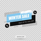 Winter sale tag. Isolated on transparency background. Snow cap. Vector illustration