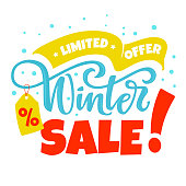 Winter Sale limited offer vector illustration. Promo banner design template.