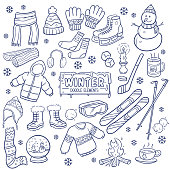 Winter elements and objects hand drawn isolated on white background