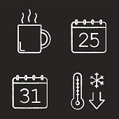 Winter season chalk icons set. Vector. December 25 and 31, temperature falling, hot steaming drink mug. Christmas and New Year days