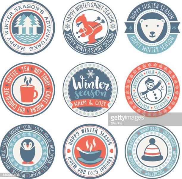 Vintersäsongen vektor cirkulär etiketter