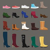 Vector collection of autumn, winter and spring women shoes. Flat style.