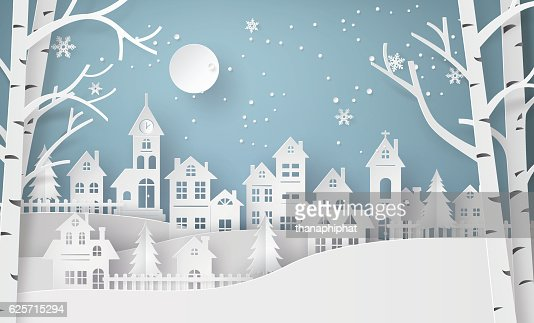 Winter Snow Urban Countryside Landscape City Village with ful lm : Vector Art