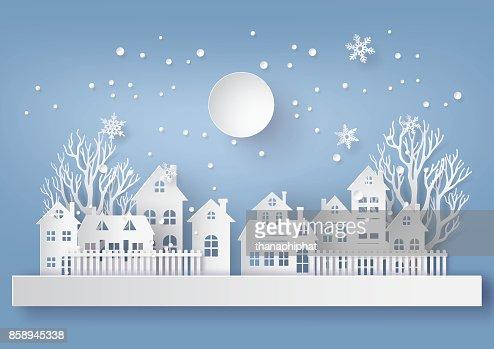 Invierno nieve urbano paisaje paisaje ciudad pueblo con ful lmoon : Arte vectorial