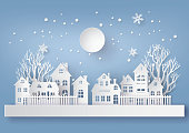 Winter Snow Urban Countryside Landscape City Village with full moon,Happy new year and Merry christmas,paper art and craft style.