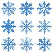 Set blue Winter Snowflake isolated on white background. Vector illustration.