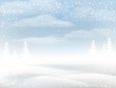 Winter snowy rural landscape. Vector bakground for greeting card.