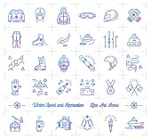 Winter sport gradient outline icons. Winter recreation and fun, ski, snowboard, snowboarding, ice skating, clothes, winter landscape outline symbols. Vector infographics web icons