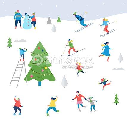 Winter sport scene, Christmas street event, festival and fair
