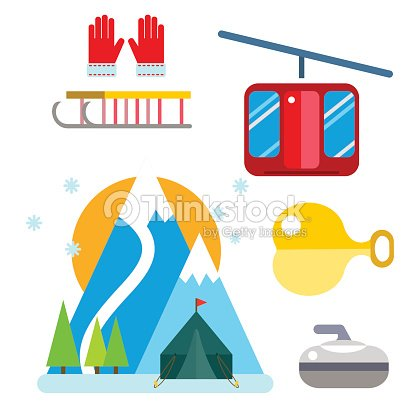 Winter sport vector icons set ski gondola snowboarding clothes tool elements element item illustration isolated equipment extreme lifestyle curling