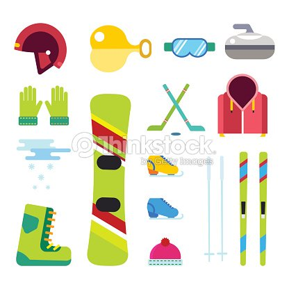 Winter sport vector icons set ski snowboarding clothes tool elements helmet glove boots element item illustration isolated equipment extreme lifestyle