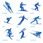 Winter sports icon set. Nine silhouettes of athletes with deep blue pattern. Different kinds of ski - jumping, running, freestyle, slopestyle, acrobatics, slalom.