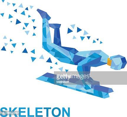 Winter sports - skeleton. Cartoon sportsman jump on sled (bobsled) : Vector Art