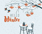 Vector winter landscape with inscription Hello winter, with snow-covered branches and red clusters of a rowan tree and open-air cafe.