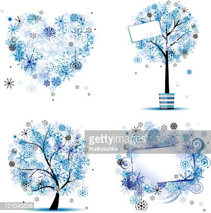 Winter style - tree, frames, heart for your design : Vector Art