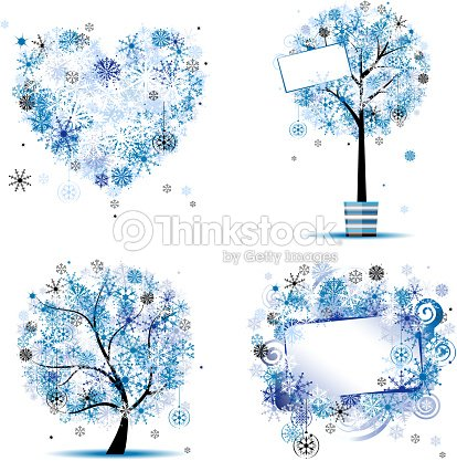 Winter Style Tree Frames Heart For Your Design Vector Art | Thinkstock