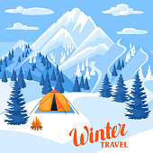 Winter trawel illustration. Beautiful landscape with camp, snowy mountains and fir forest.